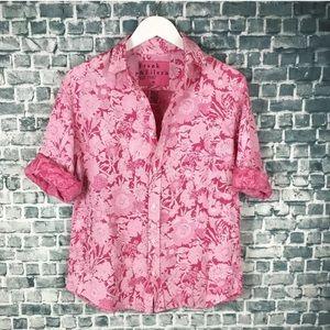 Frank Eileen Womens Fuschia Pink Dye Floral Linen